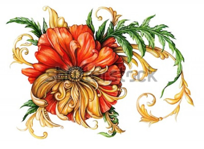 Naklejka Pomarańczowy mak ze złotymi zwojami 1