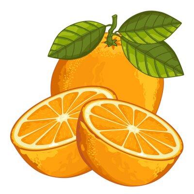 Naklejka Pomarańczowy Pojedynczo na białym tle.
