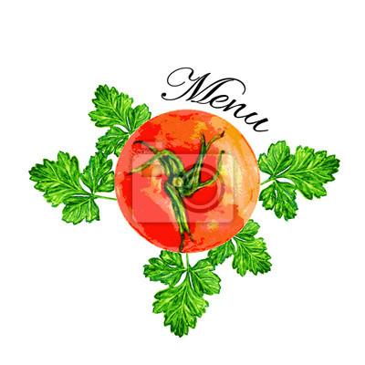 Naklejka Pomidor Akwarele ilustracji i pietruszka na białym tle