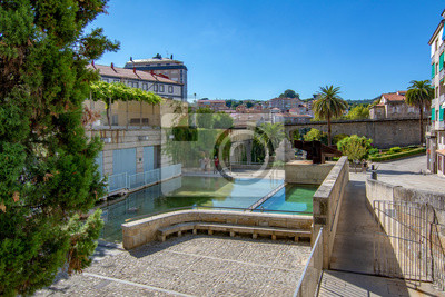 Naklejka pool of hot thermal and medicinal waters of the Burgas in the city of Ourense