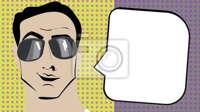 Pop art brunetka człowiek w okulary z bąblu.