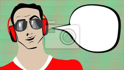 Pop art brunetki mężczyzna w słuchawkach z bąblu.