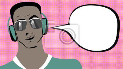 Pop art brunetki śniady mężczyzna w słuchawkach z bąblu.