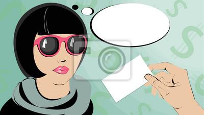 Pop Art kobieta w okularach myślenia o karcie.
