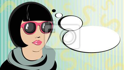 Pop-art myślenia kobieta w okularach.