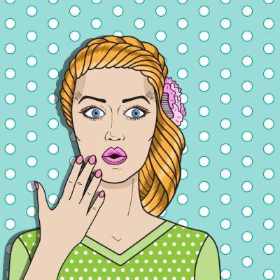 Naklejka Pop kobieta sztuka mylić, rude włosy zdziwiona kobieta. Komiks wektor kobieta.