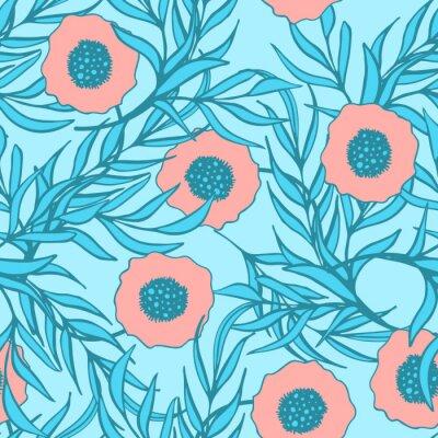 Naklejka Poppy kwiat wektor szwu. Ręcznie rysowane doodle atramentu kwiatowy print tekstylna tkanina.