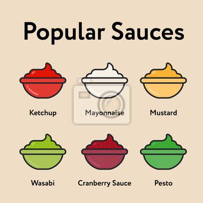 Popularne sosy Minimalna kolorystyka linii prostej Ikona skoku Ikona piktogram Ilustracja symbolu Kolekcja zestawów Ketchup, majonez, musztarda, Wasabi, żurawina, pesto