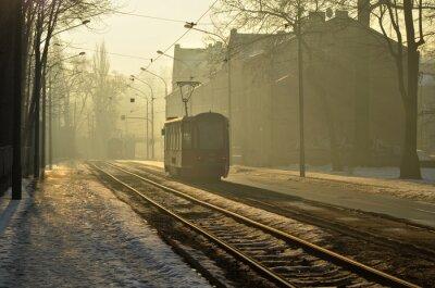 Naklejka Poranny tramwaj