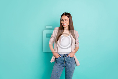 Portrait of her she nice attractive lovely pretty well-dressed gorgeous cheerful cheery content straight-haired girl isolated over bright vivid shine blue green teal turquoise background