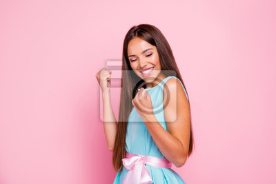 Portrait of her she nice-looking attractive adorable winsome sweet shine cheerful cheery dreamy straight-haired lady rejoice isolated over pink pastel background