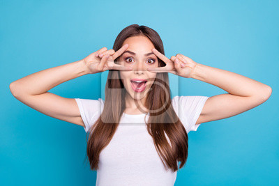 Portrait of her she nice-looking attractive crazy cheerful cheery funny funky straight-haired lady showing double v-sign holiday isolated over bright vivid shine blue green teal turquoise background