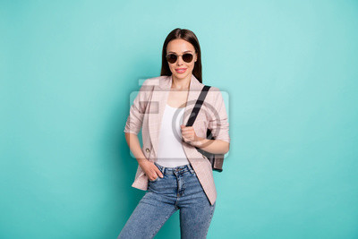 Portrait of her she nice-looking attractive fashionable cheerful cheery content straight-haired lady posing isolated over bright vivid shine blue green teal turquoise background