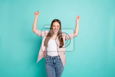 Portrait of her she nice-looking attractive lovely cheerful cheery ecstatic straight-haired girl having fun isolated over bright vivid shine blue green teal turquoise background