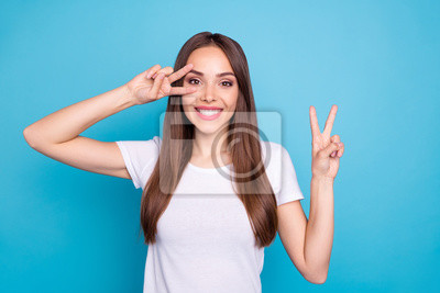 Portrait of her she nice-looking attractive lovely cheerful cheery funny straight-haired lady showing double v-sign event holiday isolated over bright vivid shine blue green teal turquoise background