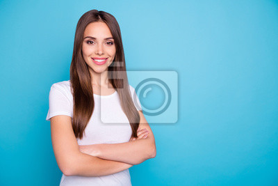 Portrait of her she nice-looking attractive lovely lovable cheerful cheery content gorgeous straight-haired girlfriend folded arms isolated over bright vivid shine blue green teal turquoise background