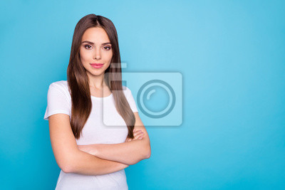 Portrait of her she nice-looking attractive lovely lovable groomed content gorgeous straight-haired lady folded arms isolated over bright vivid shine blue green teal turquoise background