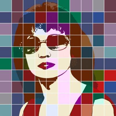 Naklejka Portret kobiety z efektem witrażu