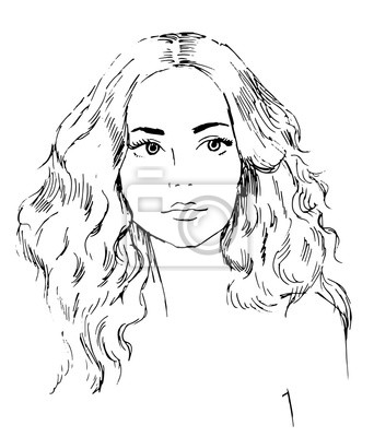 Portret młodej pięknej kobiety, warkocza włosów, ręcznie rysowane ilustracji wektorowych, szkic