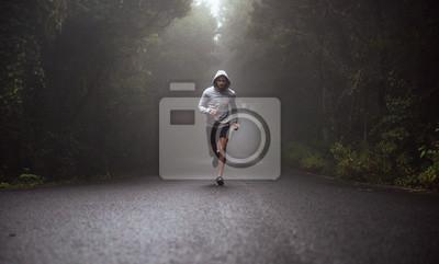Naklejka Portret młody atleta bieg na drodze