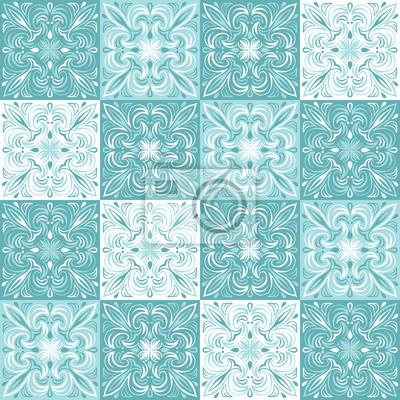 Portugalski wzór płytek ceramicznych azulejo.