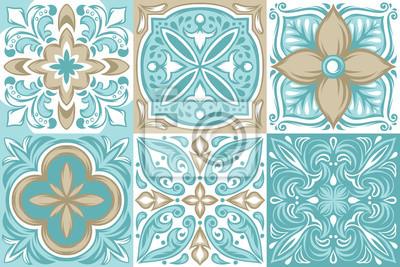 Naklejka Portuguese azulejo ceramic tile pattern.