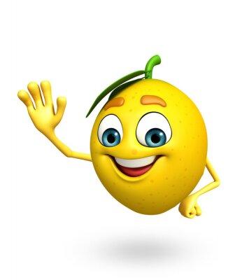 Naklejka Postać z kreskówki z cytryny