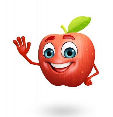 Naklejka Postać z kreskówki z jabłek owoców