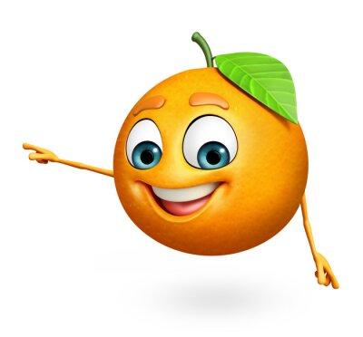 Naklejka Postać z kreskówki z pomarańczy