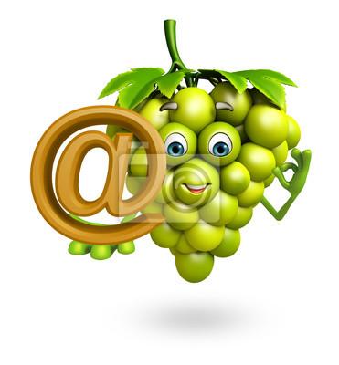 Naklejka Postać z kreskówki z winogron z na znak stóp