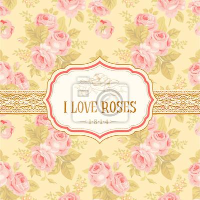 Postcard lub tła z rocznika róż