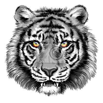 Naklejka Potężny tygrys z jasnymi oczami