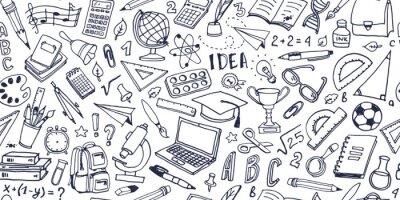 Naklejka Powrót do szkoły doodle wzór. Ręcznie rysowane tła z przyborów szkolnych i elementów kreatywnych. Ilustracji wektorowych.