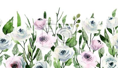 Powtarzający się wzór obramowania, róże akwarela, ręcznie malowane białe kwiaty. Ilustracja na zaproszenie na ślub, karty z pozdrowieniami, ulotki, plakat, projekt transparentu. Wzór na białym tle.