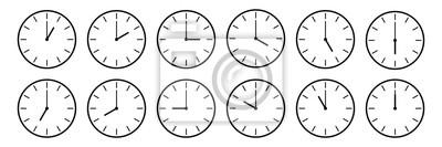 Naklejka poziomy zestaw ikon zegara analogowego powiadamiających każdą godzinę na białym, ilustracji wektorowych