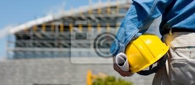Naklejka Pracownik budowy lub majster na budowie