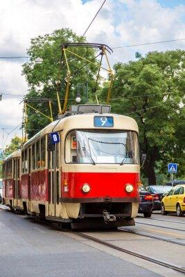 Naklejka Praga szczegółowo czerwone Tramwaj, Republika Czeska