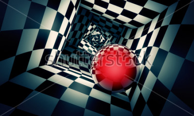 Naklejka Predetermination. Red ball in a chess tunnel (concept image). The space and time. 3D illustration. Available in high-resolution and several. If you buy this image, I will be very grateful to you!
