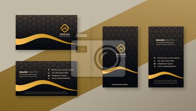 premium dark golden business card designs set