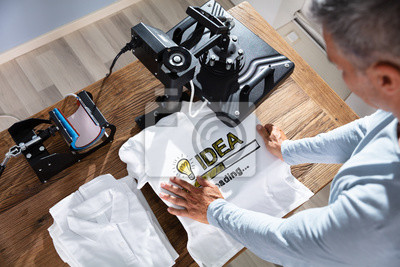 Naklejka Printing On T-Shirt In Workshop