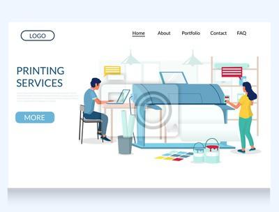 Naklejka Printing services vector website landing page design template
