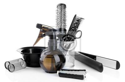 Naklejka Profesjonalne narzędzia fryzjerskie, na białym tle