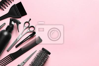 Naklejka Profesjonalny salon fryzjerski na kolor tła