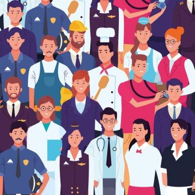 Naklejka Professional workers labor day cartoons