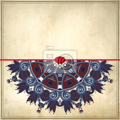 Projekt krąg kwiatu na tle grunge z ornamentem koronki