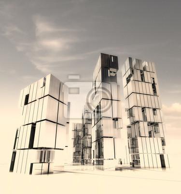 Projekt mieście wieżowiec w piasku pustyni ilustracja burzy