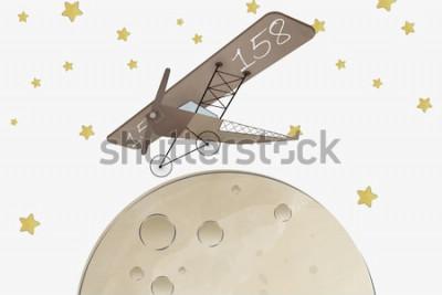 Naklejka Projekt tapety do pokoju dziecięcego Dwupłatowiec i księżyc