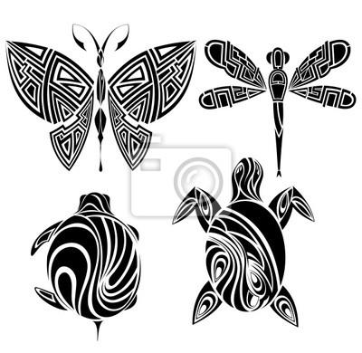 Naklejka Projekt Tatuaż: motyl, żółw, ważka