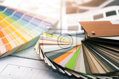 projektowanie wnętrz - próbki farb i materiałów meblowych