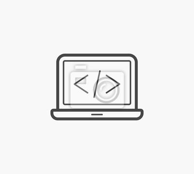 Prosta linijka ikony kodu komputera